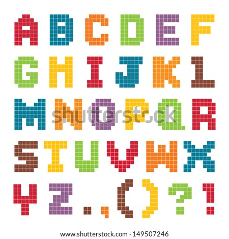 Vector pixel art alphabet set in bright vintage colors isolated on white. Good for scrap booking, school projects, posters, textiles. See my folio for JPEG version and for more alphabets.