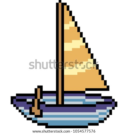 Vector Pixel Art Boat Paddle Isolated Cartoon