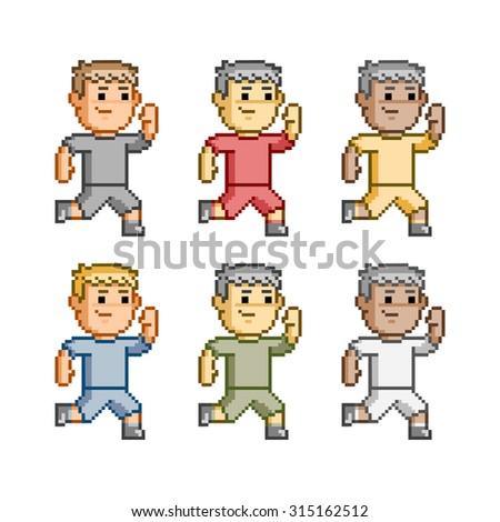 Vector pixel art, funny runners. Running and fitness - stock vector