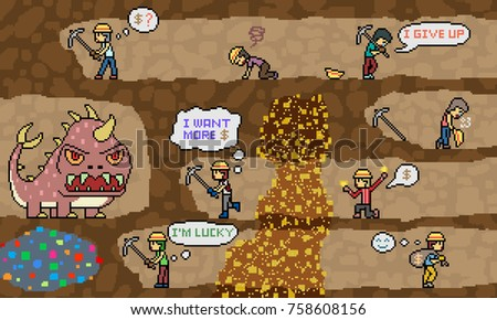 vector pixel art gold mine dig scene