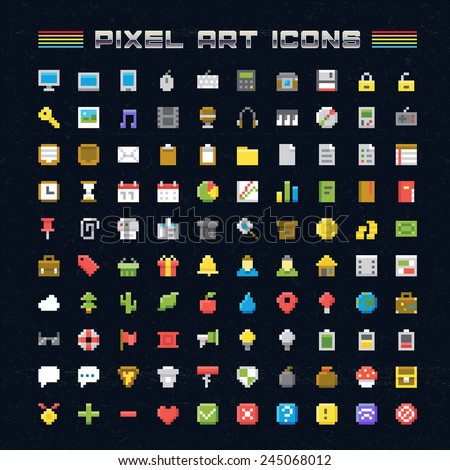 Vector Pixel Art Icons. Oldschool video game pixel style icons for any web or mobile applications and presentation - stock vector
