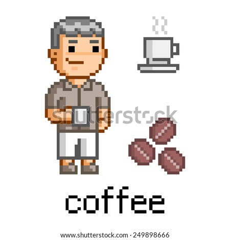 Vector pixel art man and a mug of coffee - stock vector
