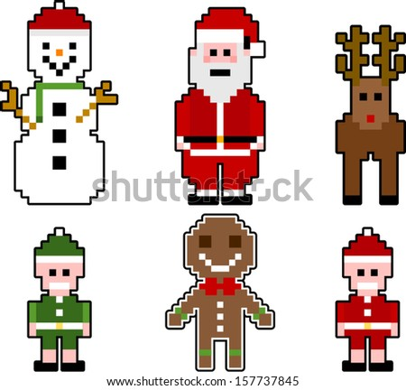 Vector Pixel Christmas Characters Separate Layers Stock Vector ...