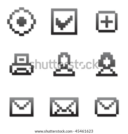 Vector pixel icon set 1 - stock vector