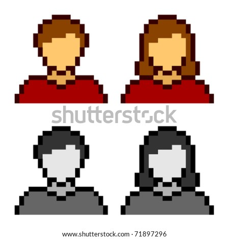 vector pixel male female avatar icons - stock vector