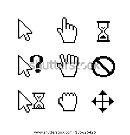 Vector Pixel Mouse cursors over white: hand drag arrow pointer
