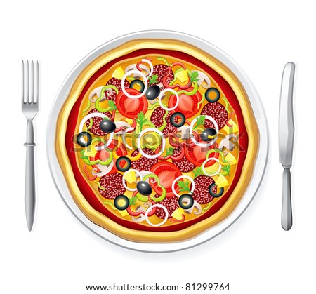 Vector pizza on a plate with fork and knife - stock vector