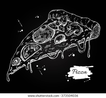 Vector Pizza slice drawing. Hand drawn pizza illustration. Great for menu, poster or label. - stock vector