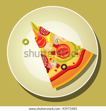 Vector Pizza Slice On The Plate - stock vector