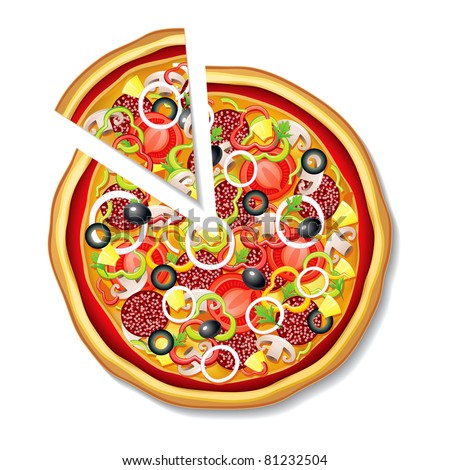 Vector pizza with a slice - stock vector