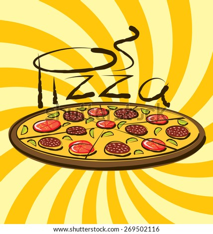 vector pizza with calligraphic inscription and aroma - stock vector