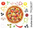 Vector pizza with many isolated components - stock vector