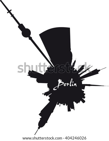 Vector Planet Berlin: Berlin round silhouette skyline - stock vector