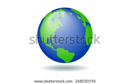 Vector planet earth color with painted continents