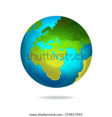 Vector Planet Earth icon - stock vector
