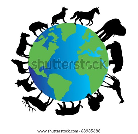 vector planet earth with different animals silhouettes - stock vector