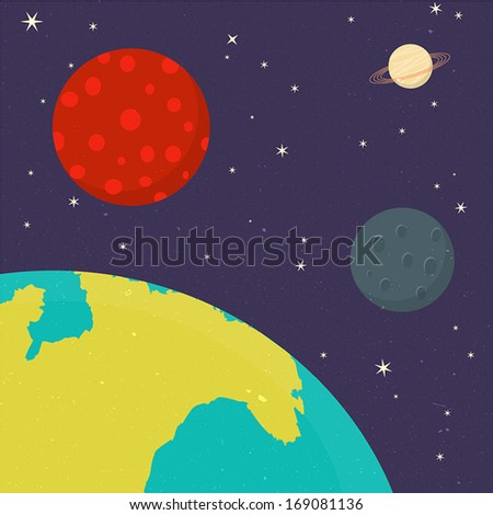 Vector Planets of Solar System, EPS10 - stock vector