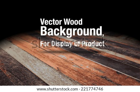 Vector : Plank wooden floor background, Mock up for display of product - stock vector