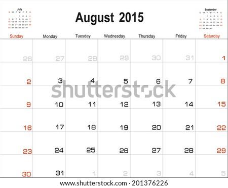Vector planning calendar August 2015 - stock vector