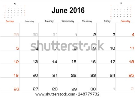 Vector planning calendar  June 2016 - stock vector