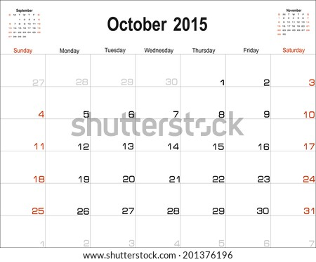 Vector planning calendar October 2015 - stock vector