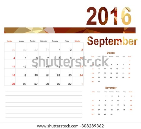 Vector planning calendar September 2016 - stock vector