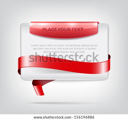Vector plastic banner with red glossy element and red decorative ribbon - stock vector