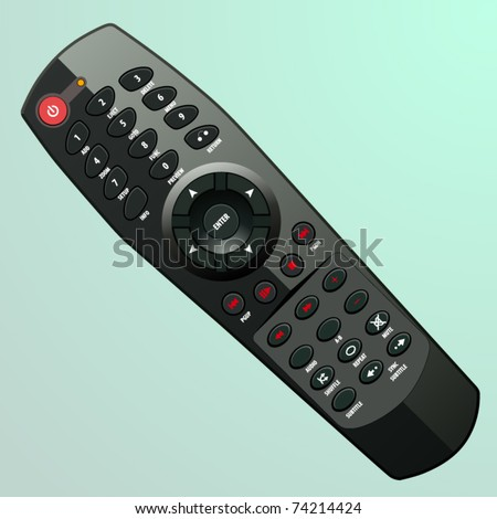 vector plastic black remote controller - stock vector