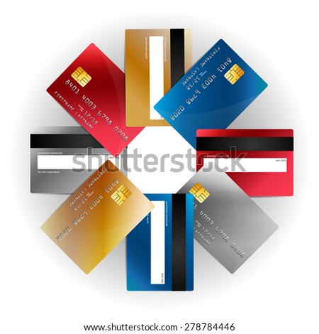 Vector plastic credit cards set, front and back view - stock vector