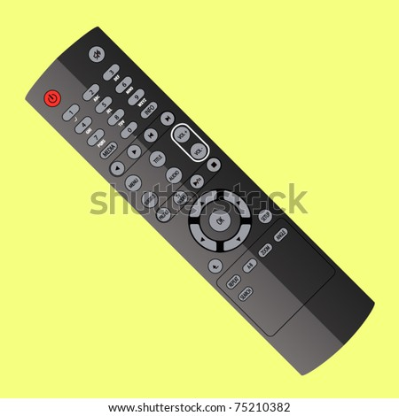 vector plastic gray remote controller - stock vector