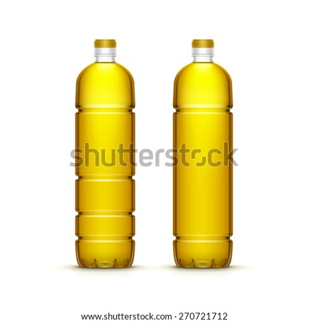 Vector Plastic Sunflower Olive Oil Blank Bottle Isolated on White Background