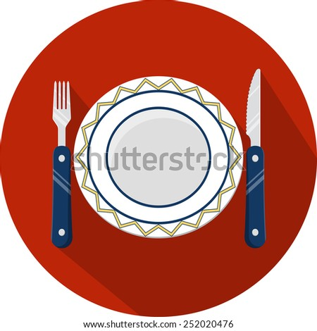 Vector  Plate and Cutlery  - stock vector