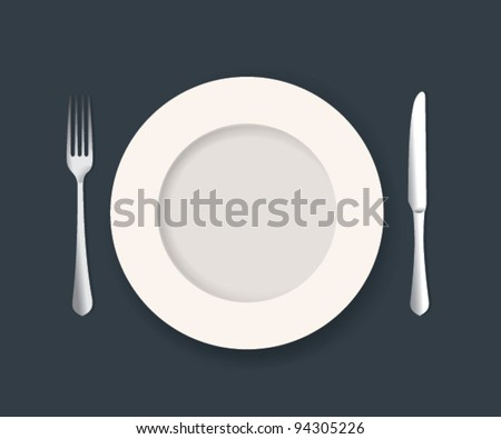 Vector Plate Knife and Fork Set - stock vector