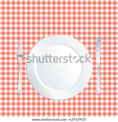 vector plate on red square tablecloth - stock vector