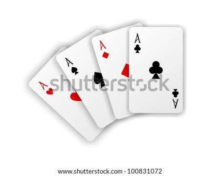 Vector playing cards. Four aces isolated on white background wit - stock vector