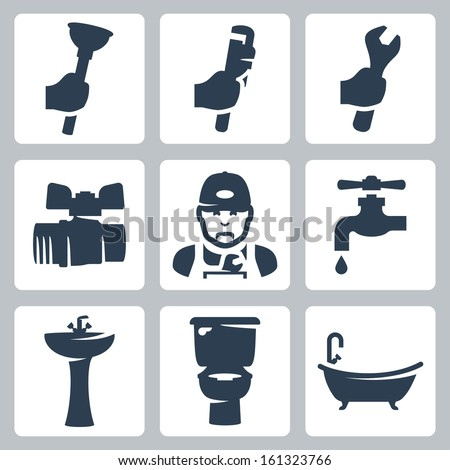 Vector plumbing icons set: plunger, adjustable wrench, spanner, ball cock, plumber, faucet, washbasin, toilet bowl, bathtub - stock vector