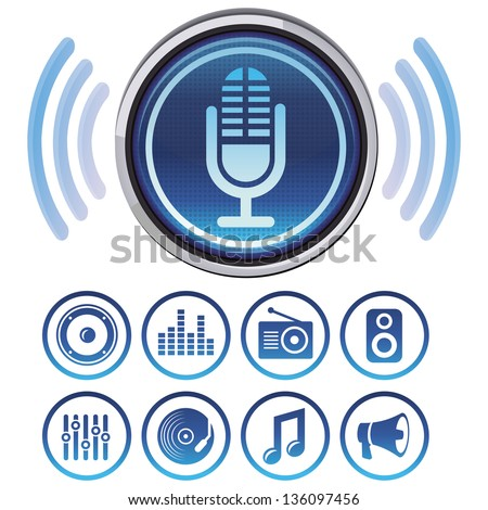 Vector podcast icons - signs and symbols for audio apps - stock vector