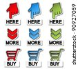 Vector pointer stickers - here, more, buy - stock vector