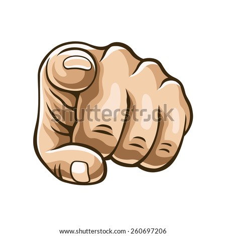 Vector pointing finger illustration - stock vector