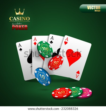Vector poker background with playing cards and chips.vector - stock vector