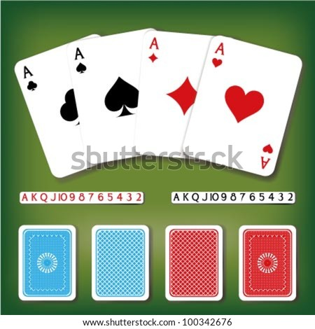 Vector poker card set with numbers and backside decorations in different colors - stock vector