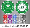 vector poker chips, easy to edit - stock photo