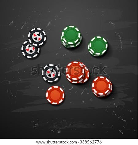 Vector Poker gambling chips. casino elements - stock vector