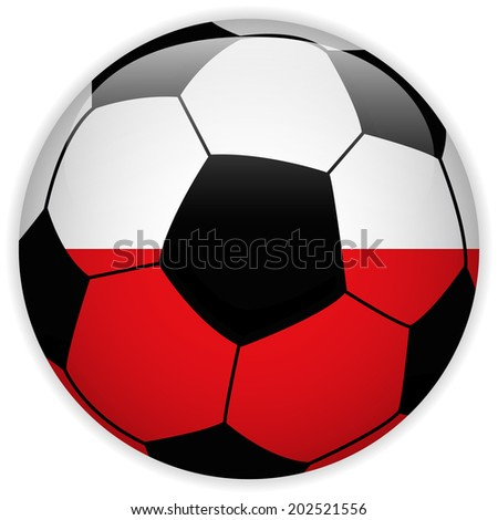 Vector - Poland Flag with Soccer Ball Background