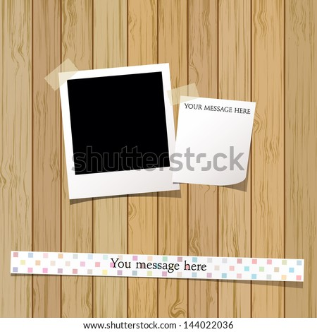 Vector Polaroid photo frame and memo paper on wood plank background  - stock vector
