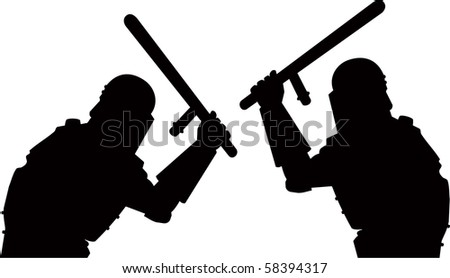 Vector police and demonstration - stock vector