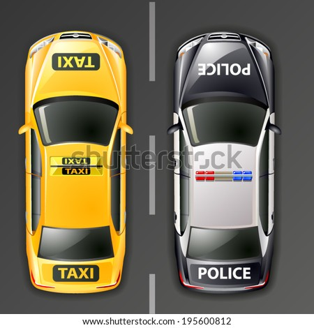vector police and taxi cars. top view - stock vector