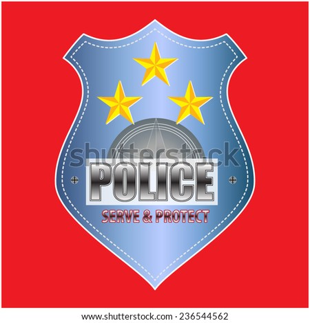 Vector Police Badge isolated - stock vector