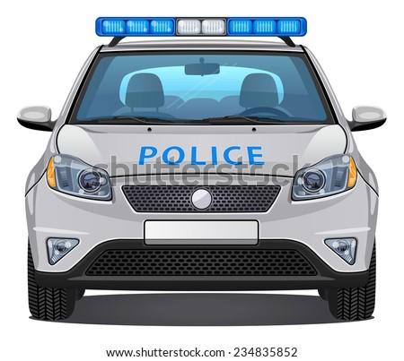 Vector Police Car #3 - Front view | Visible interior version - stock vector