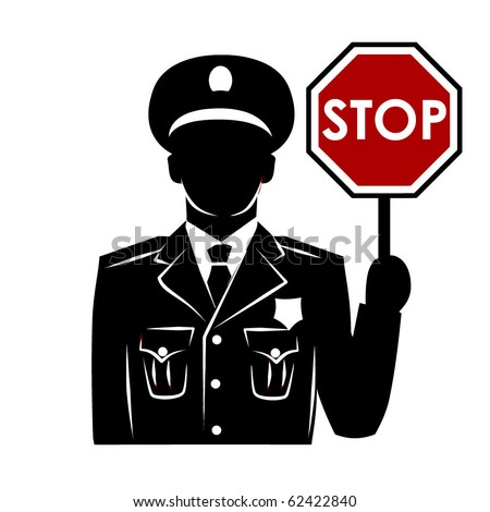 Vector policeman silhouette with stop sign - stock vector